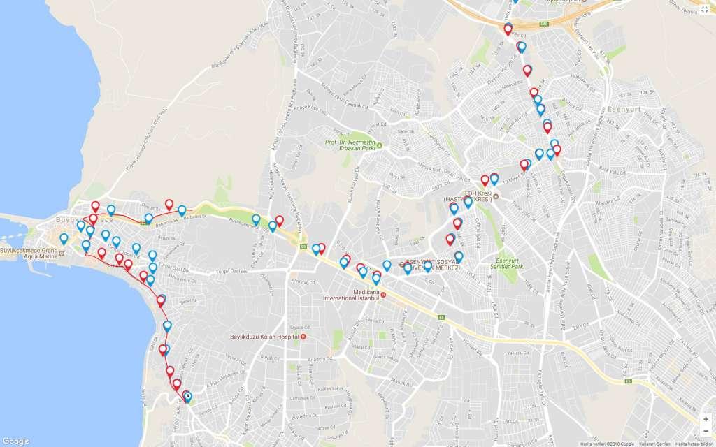 142b güzergah haritası